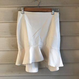 NEW ZARA White Ruffle Skirt XS